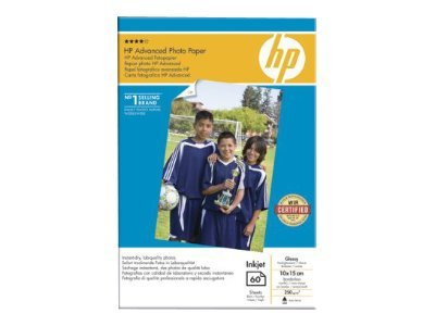 HP Advanced Glossy Photo Paper - Lesklý - 10,5 mil. - 100 x 150 mm - 250 g/m2 - 60 listy fotografický papír